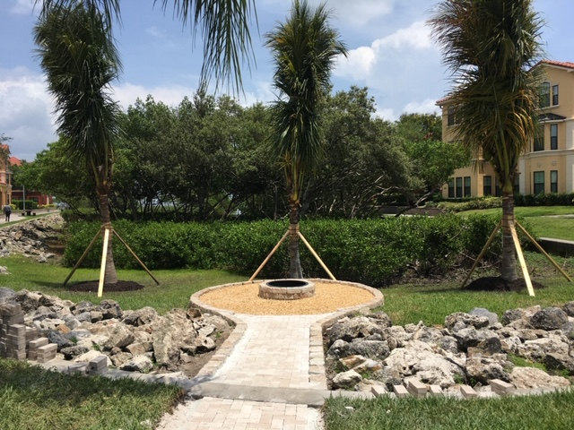 Newly constructed firepit at Grand Venezia